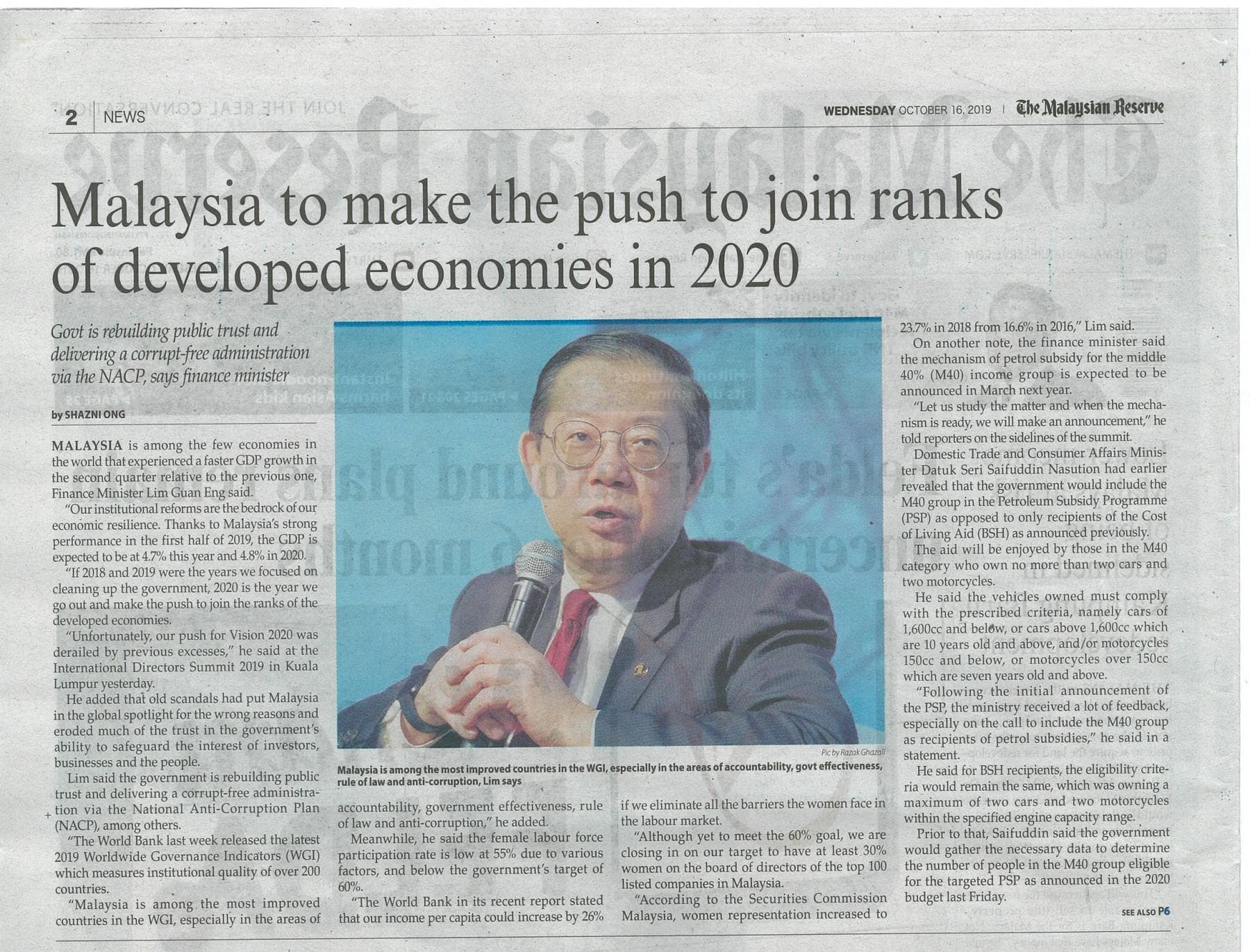 The Malaysian Reserve Malaysia to make the push to join ranks of developed economies in 2020 16 Oct 2019