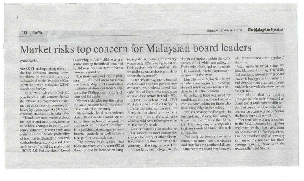 market risks top concern for Malaysian board leaders 01