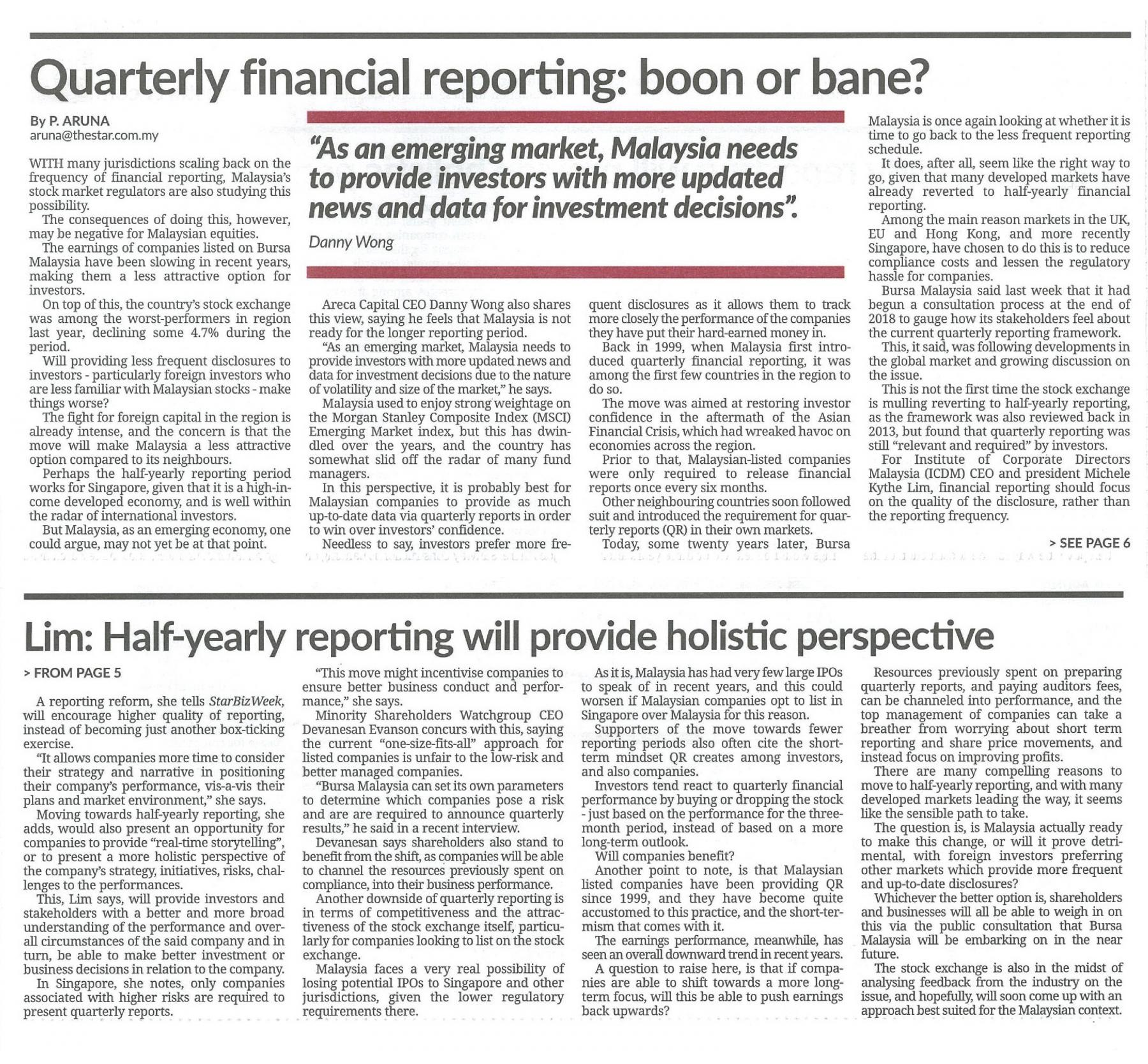 The Star Quarterly financial reporting boon or bane 18Jan2020 01