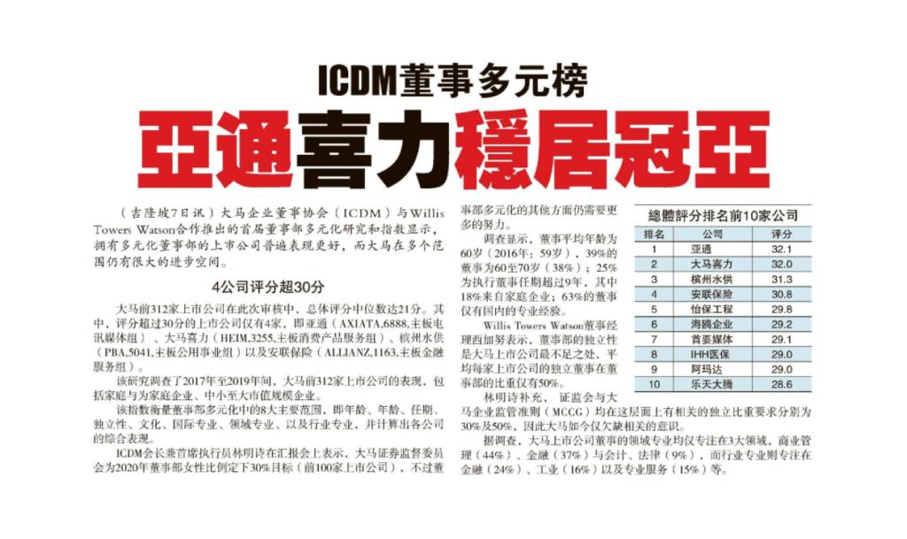 8 Apr 2021 Sin Chew Daily ICDMs Malaysia Board Diversity Index Axiata Heineken take the lead 01