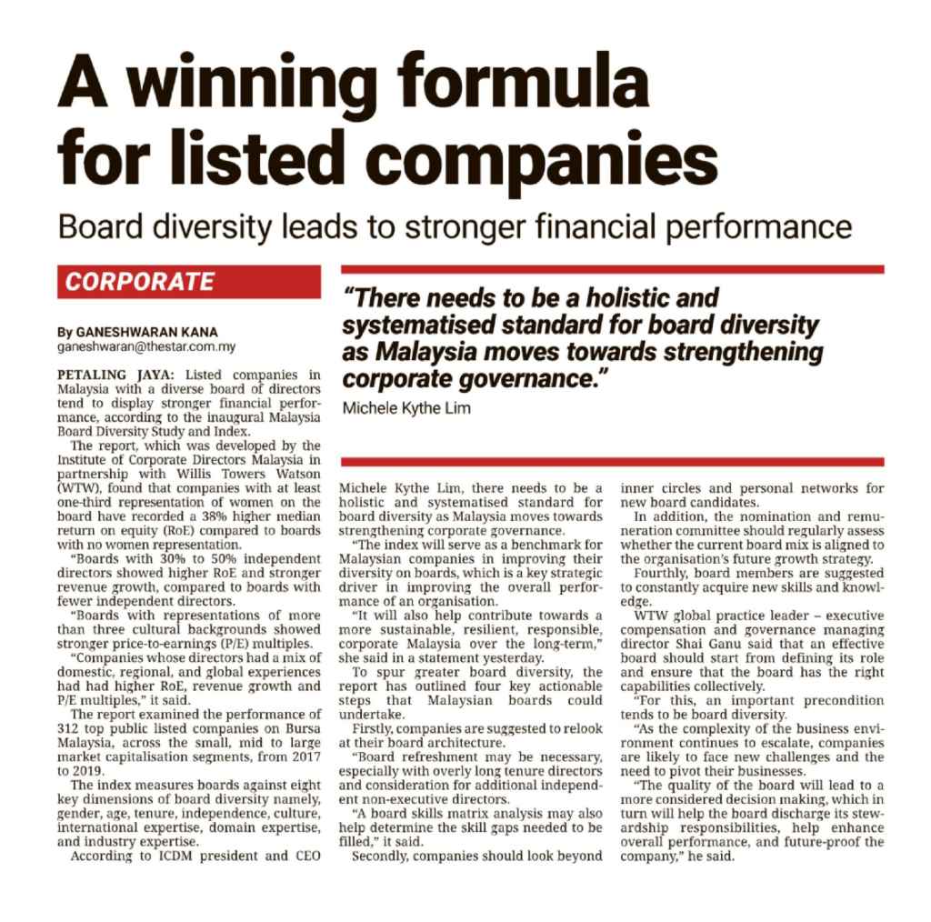 8 Apr 2021 The Star A winning formula for listed companies 01