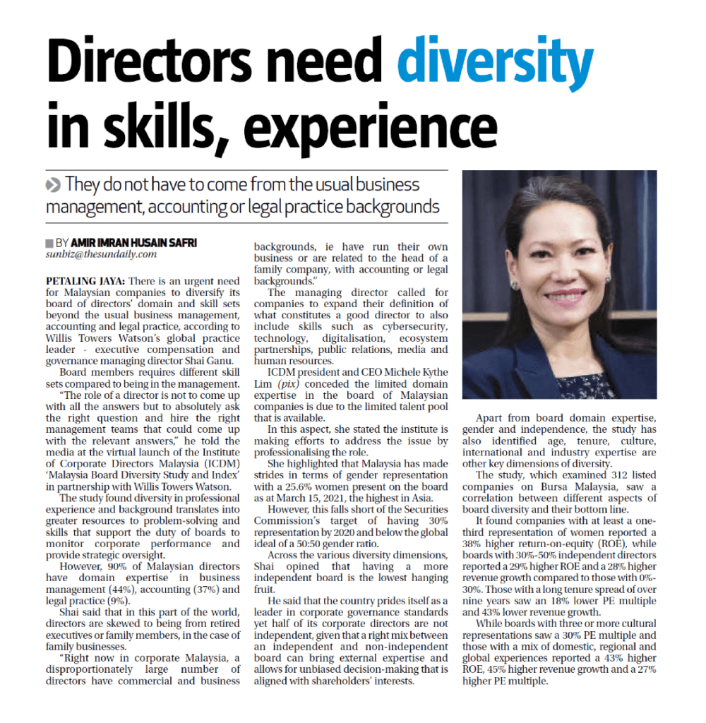8 Apr 2021 The Sun Daily Directors need diversity in skills experience 01
