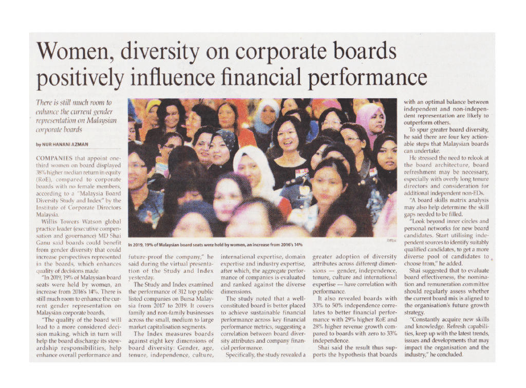 8 April 2021 The Malaysian Reserve Women diversity on corporate boards positively influence financial performance 01